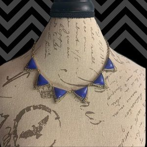 Royal Blue Detail With Gold Necklace.